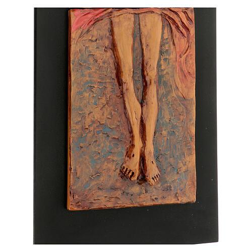 Cristo risorto 15° stazione maiolica cuoio su legno bruno 3