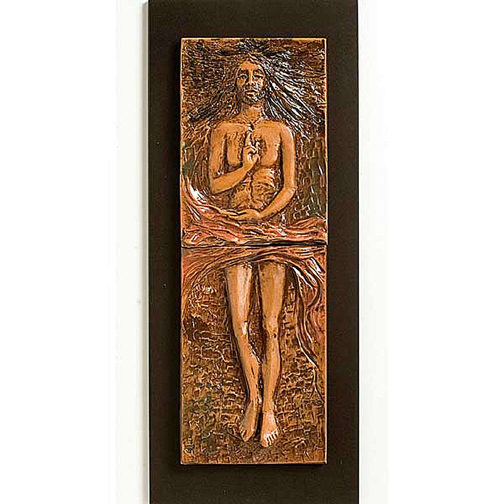 Risen Christ in majolica backed with wood, 15th station 4