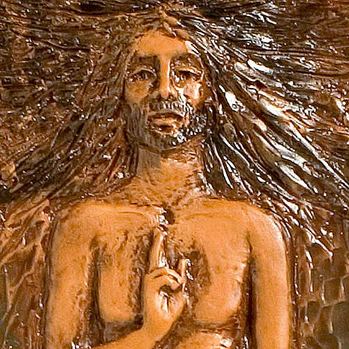 Risen Christ in majolica backed with wood, 15th station 2