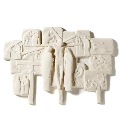 Bas-relief Way of the Cross in fireclay,