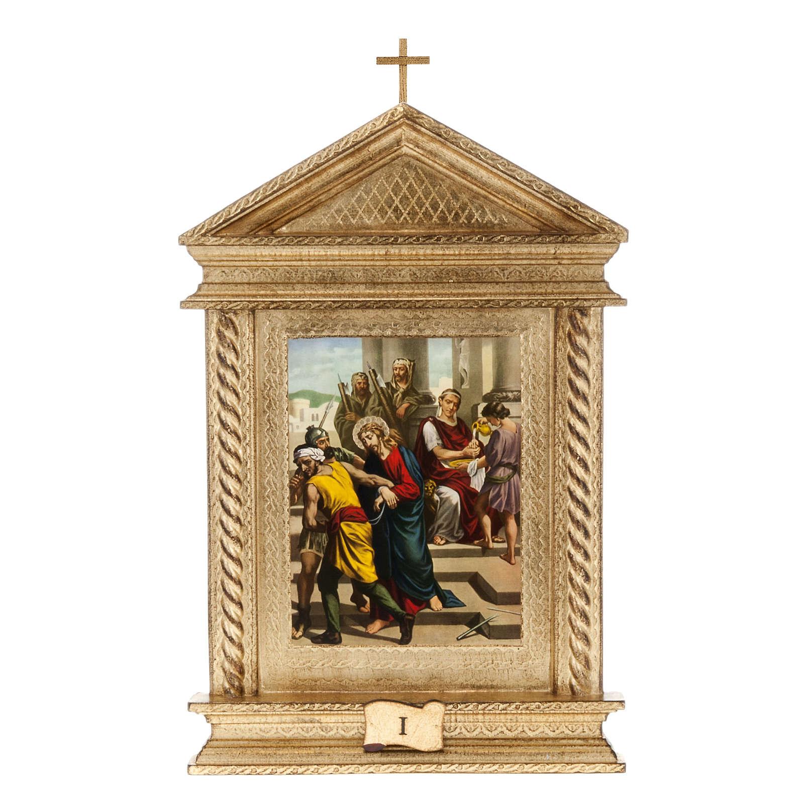 Via Crucis legno tortiglioni a punta XV stazioni 4