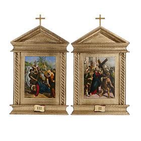 Via Crucis legno tortiglioni a punta XV stazioni s7