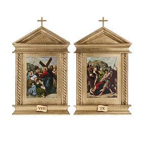 Via Crucis legno tortiglioni a punta XV stazioni s10
