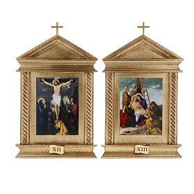 Via Crucis legno tortiglioni a punta XV stazioni s12
