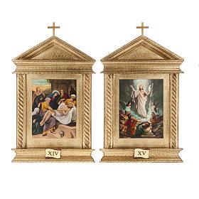 Via Crucis legno tortiglioni a punta XV stazioni s13