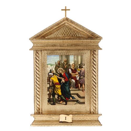 Via Crucis legno tortiglioni a punta XV stazioni 1