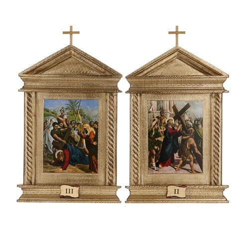 Via Crucis legno tortiglioni a punta XV stazioni 7