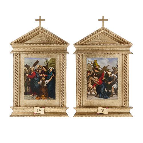 Via Crucis legno tortiglioni a punta XV stazioni 8
