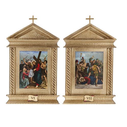 Via Crucis legno tortiglioni a punta XV stazioni 9