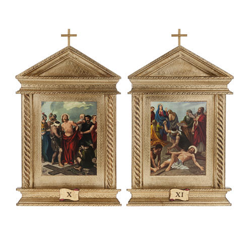 Via Crucis legno tortiglioni a punta XV stazioni 11