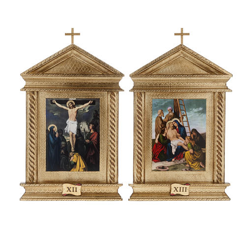 Via Crucis legno tortiglioni a punta XV stazioni 12