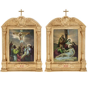 Way of the Cross in wood decorated with columns, 15 stations s13