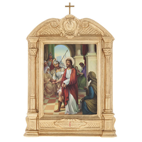 Way of the Cross in wood decorated with columns, 15 stations 1