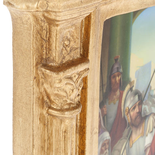 Way of the Cross in wood decorated with columns, 15 stations 6