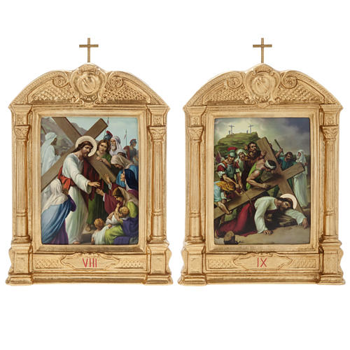 Way of the Cross in wood decorated with columns, 15 stations 11