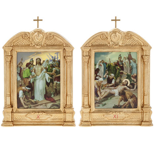 Way of the Cross in wood decorated with columns, 15 stations 12
