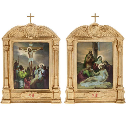 Way of the Cross in wood decorated with columns, 15 stations 13