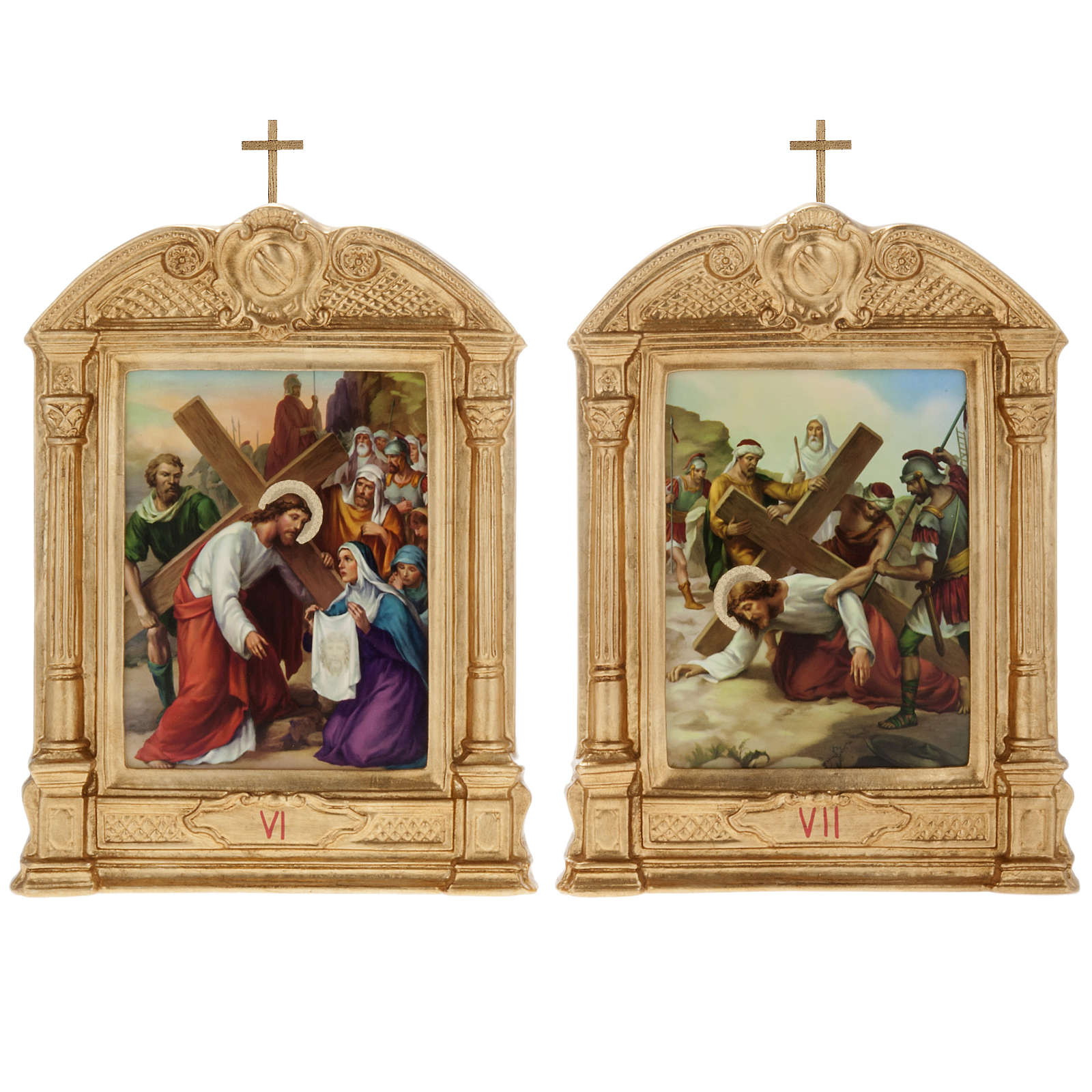 Stations of the Cross in wood decorated with columns, 15 stations 4