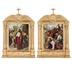 Stations of the Cross in wood decorated with columns, 15 stations s8