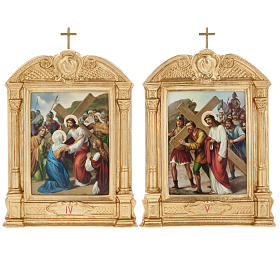 Stations of the Cross in wood decorated with columns, 15 stations s9