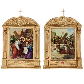 Stations of the Cross in wood decorated with columns, 15 stations s10