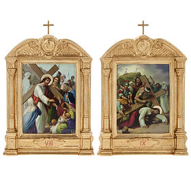 Stations of the Cross in wood decorated with columns, 15 stations s11