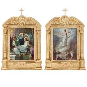 Stations of the Cross in wood decorated with columns, 15 stations s14