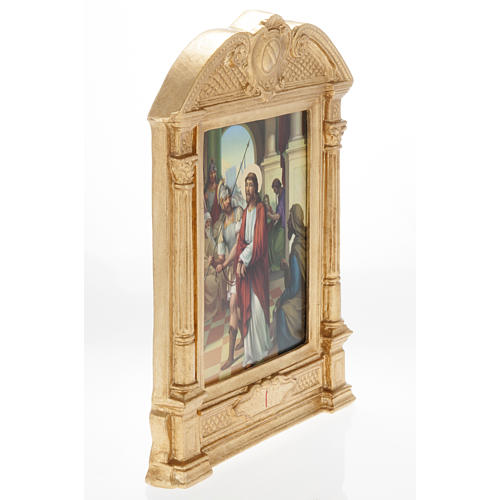 Stations of the Cross in wood decorated with columns, 15 stations 5