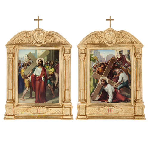Stations of the Cross in wood decorated with columns, 15 stations 8