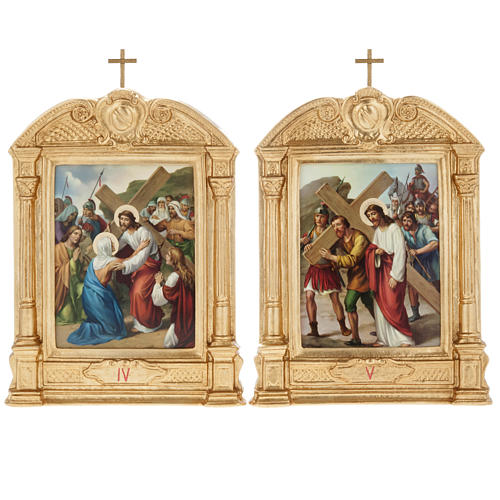 Stations of the Cross in wood decorated with columns, 15 stations 9