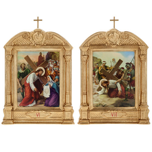 Stations of the Cross in wood decorated with columns, 15 stations 10