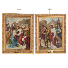 Via Crucis quadri legno tipo pittura 15 stazioni s10