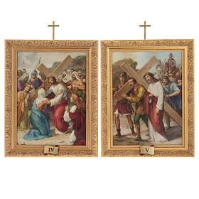 Via Crucis quadri legno tipo pittura 15 stazioni s11