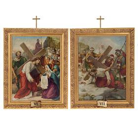 Via Crucis quadri legno tipo pittura 15 stazioni s12