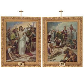 Via Crucis quadri legno tipo pittura 15 stazioni s14