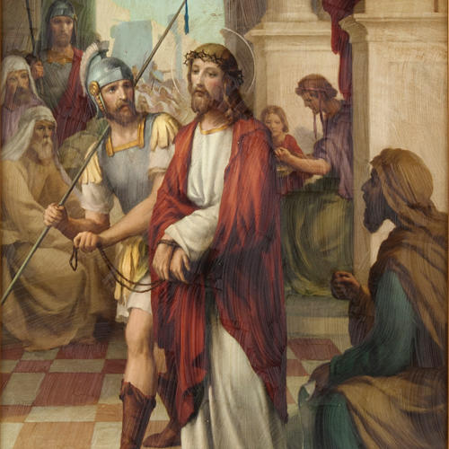 Via Crucis quadri legno tipo pittura 15 stazioni 2