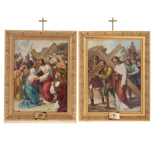 Via Crucis quadri legno tipo pittura 15 stazioni 10