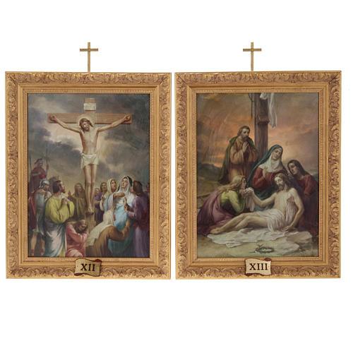 Via Crucis quadri legno tipo pittura 15 stazioni 15