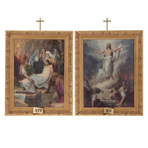 Via Crucis quadri legno tipo pittura 15 stazioni 16