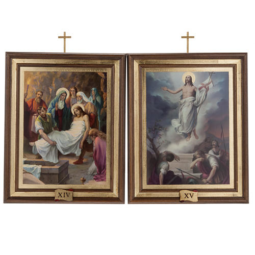 Stations of the Cross printed on wood, 15 stations 13