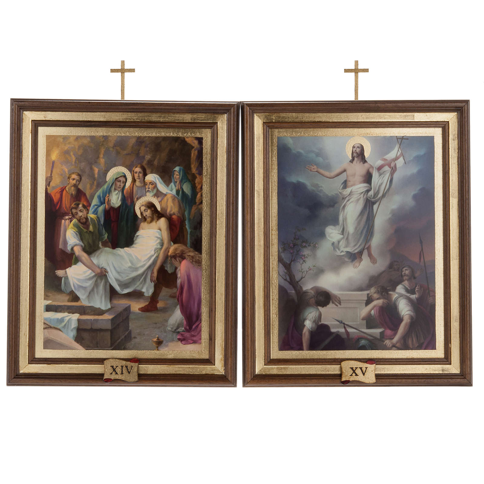 Cuadros Via Crucis madera similar pintura 15 estaciones 4