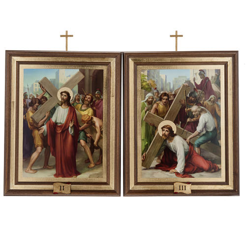 Cuadros Via Crucis madera similar pintura 15 estaciones 7