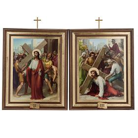 Quadri Via Crucis legno tipo pittura 15 stazioni s7