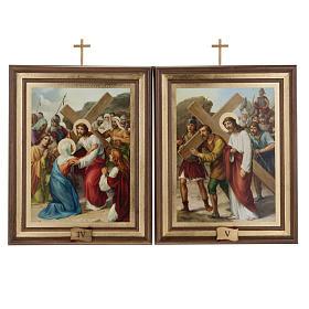 Quadri Via Crucis legno tipo pittura 15 stazioni s8