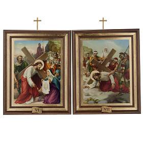 Quadri Via Crucis legno tipo pittura 15 stazioni s9