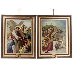 Quadri Via Crucis legno tipo pittura 15 stazioni s10