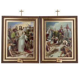 Quadri Via Crucis legno tipo pittura 15 stazioni s11