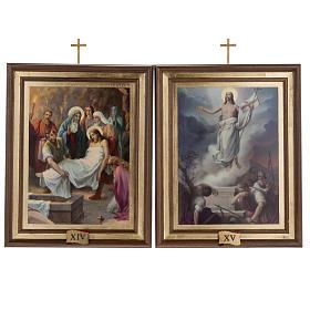 Quadri Via Crucis legno tipo pittura 15 stazioni s13