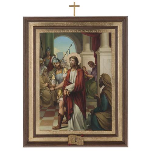 Quadri Via Crucis legno tipo pittura 15 stazioni 1