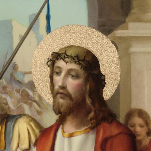 Quadri Via Crucis legno tipo pittura 15 stazioni 2